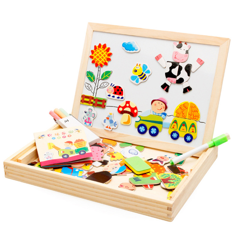 Kid education toys Wooden Magnetic Pattern Blocks Wooden jigsaw puzzle