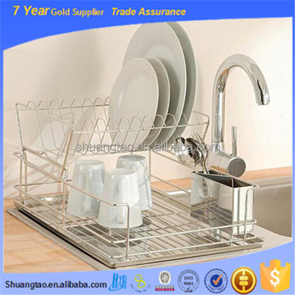 Guangzhou wholesale sleek stainless steel 2 tier kitchen countertop dish rack / plate / cup air drying drainer storage system