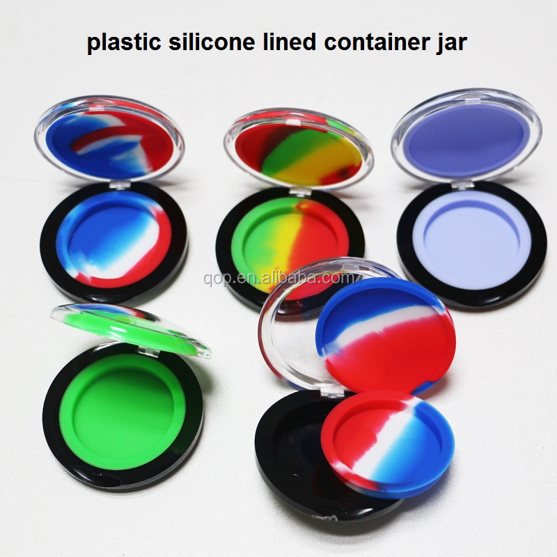 6ml Eco-Friendly silicone food container colorful silicone lined jars inside plastic dab wax container