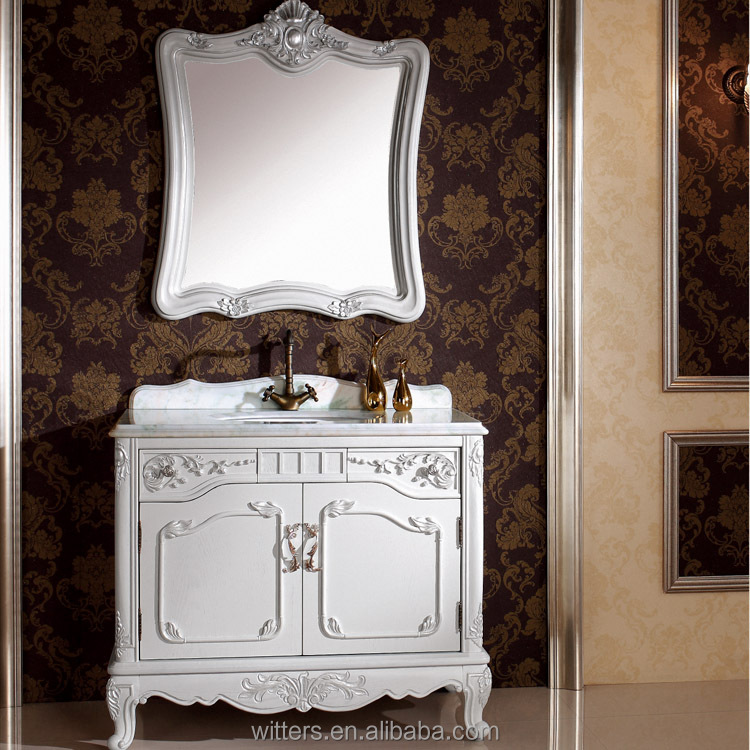 Luxury Replicated Venetian White Distressed Bathroom Cabinet, Royal Single Sink Marble Top Bathroom Cabinet WTS345