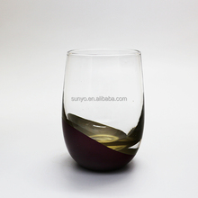 2018 Customized electroplate red and yellow stemless colored wine glass