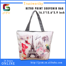 Fancy Tote Cheap Casual Presonality Designer Printing Fashion Woman Flower Eiffel Tower Direct Sell Hot sale Lady Pu Leather Han