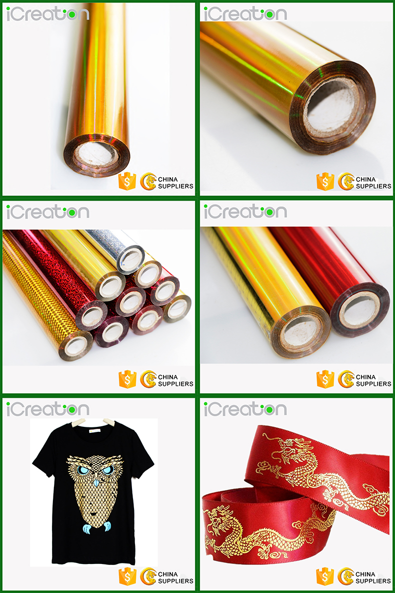 PET material Gold Hot Stamping Film for Textile Clothing T-Shirt with individual design for Wholesale