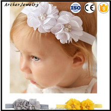 Cheaper Infant Chiffon Flower With crystal Pearl Headband Baby Headband Elastic Hair Accessories HA-1148