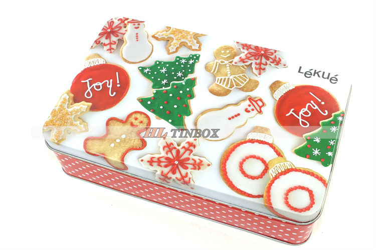 Rectangular Christmas Cookies Gift Tin Can/Tin Box