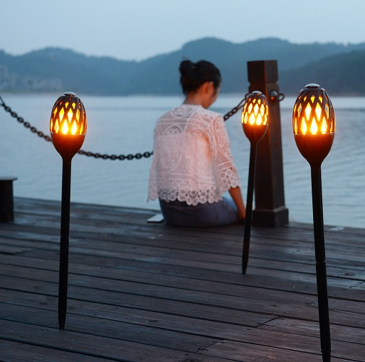 novelty outdoor imitation flame torch lamp led garden lawn lamp rechargeable night light