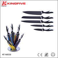 Royalty line 5 pcs black blade black and white handle kitchen knife set with colorful block