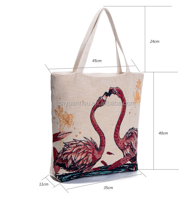Floral And Flamingo Eco Printed 10oz Cotton Cloth Bag Shopper Bag Canvas Shopping Bag