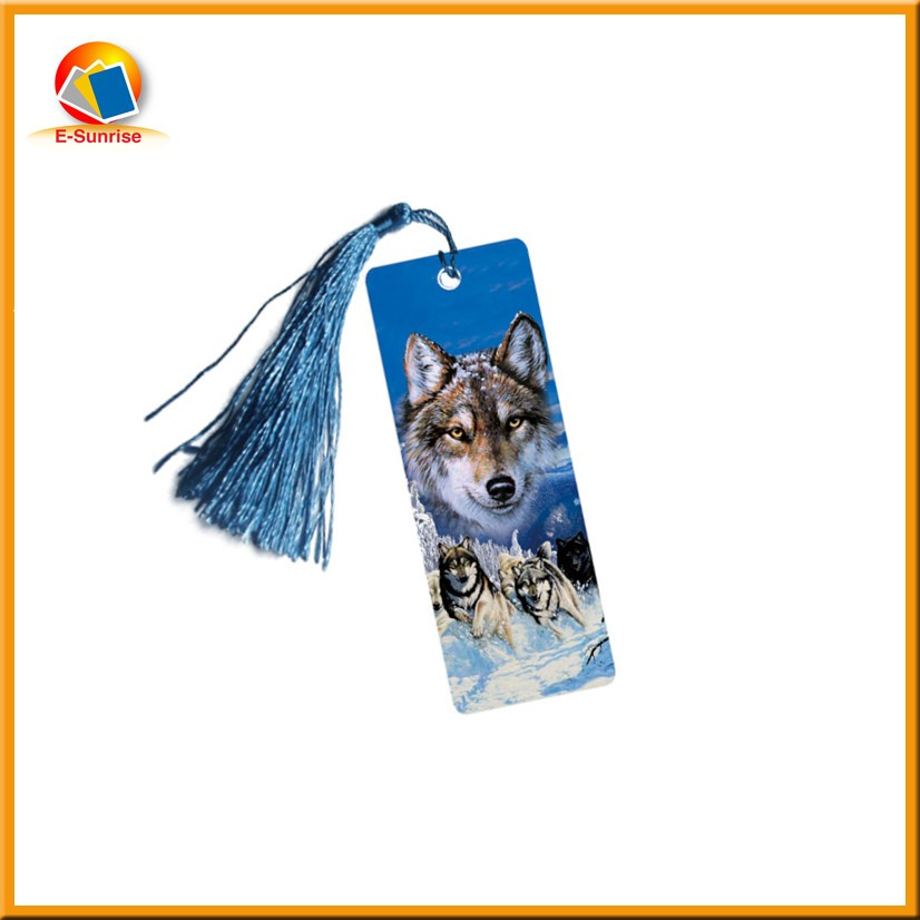 Custom 3d plastic lenticular bookmark with tassels and animal picture