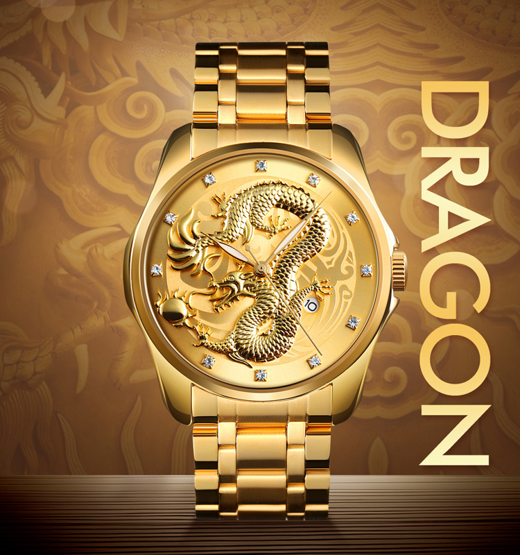 china wholesale skmei 9193 stainless steel back quartz watches golden dragon watch