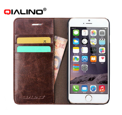 QIALINO Original Design Cow Leather Mobile Phone Bags & Magnetic Cover Cases For Iphone 6 Plus