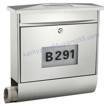 FQ-196 wall mounted stainless steel solar mailbox with house number