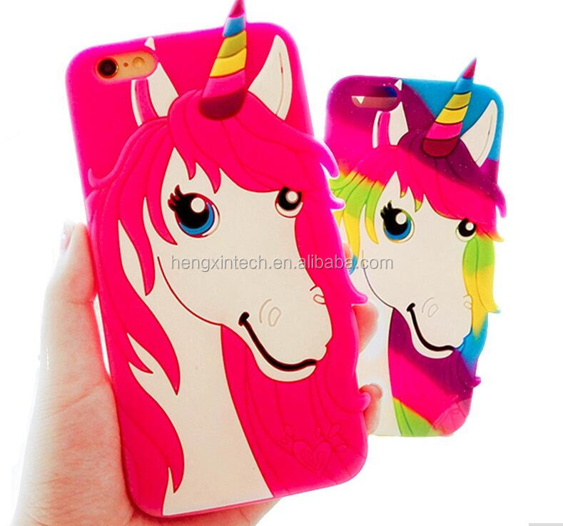 Nest 3D Cartoon Rainbow Unicorn Little Horse Head silicone Rubber Protective Shell Phone Cover Case for iPhone6 6plus 6s 6s plus