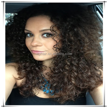 7A Best Quality Afro Kinky Curly Brazilian Hair Glueless Virgin Human Hair Full Lace Front Wig For Black Women