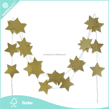 2017 Wholesale 4m Decorative Gold Star Garland for Windows Dooway Ceiling <strong>Wedding</strong> Hanging Decorations