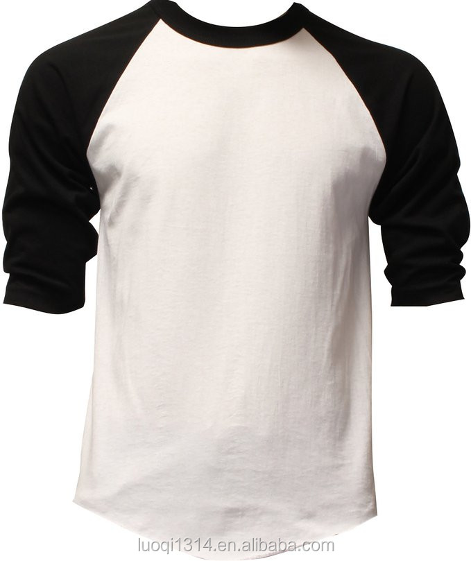 Mens plain 3 4 long sleeve custom design baseball raglan for Custom raglan baseball shirt