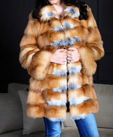 Red Canadian Fox Fur coat , latest design top quality