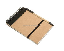 recycle kraft paper spiral notebook with pen