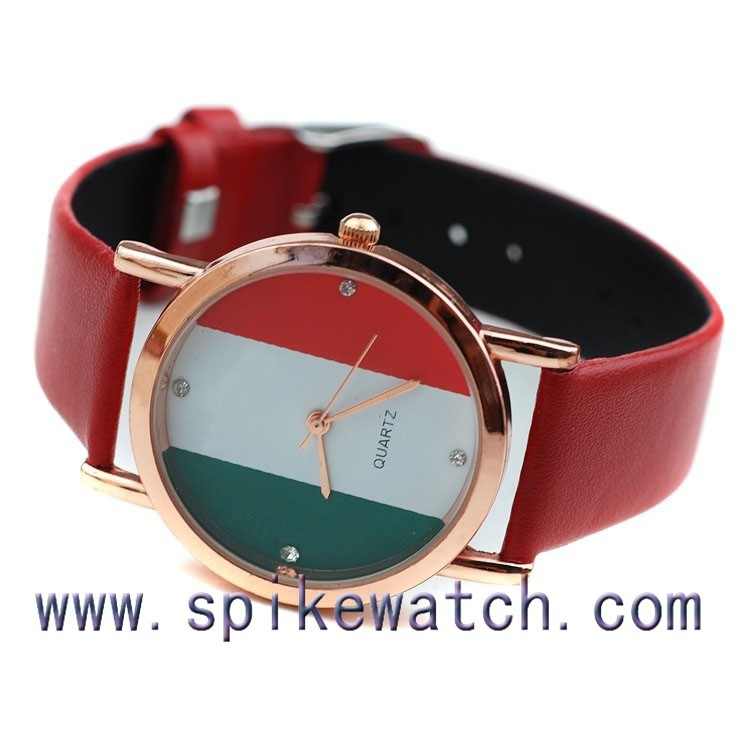 Fashion 3ATM Alloy Case Leather Watch Italy Flag Watch