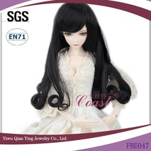 long synthetic black curly bjd Pullip doll wigs