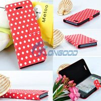 Flip Stand Polka Dot PU Leather Folio Book Case Cover For Cell Phone / for iphone5