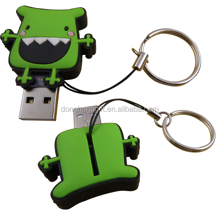 custom plastic lovely cartoon character rubber USB keychains