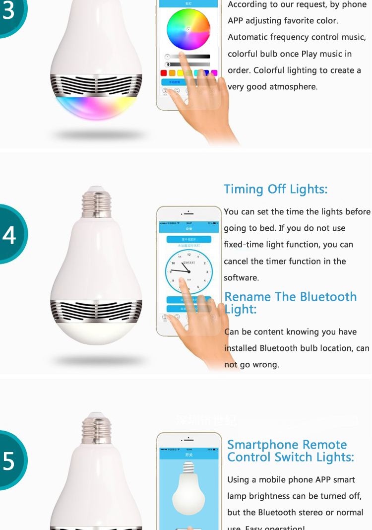 New 2015 LED Bluetooth smart 6w e27 lamp light smartphone wireless Bluetooth speaker with led light music RGB LED bulb lamp
