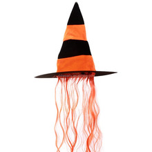 Felt witch hat with hair