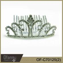 2014 jewelry trend rhinestones princess crown for kids