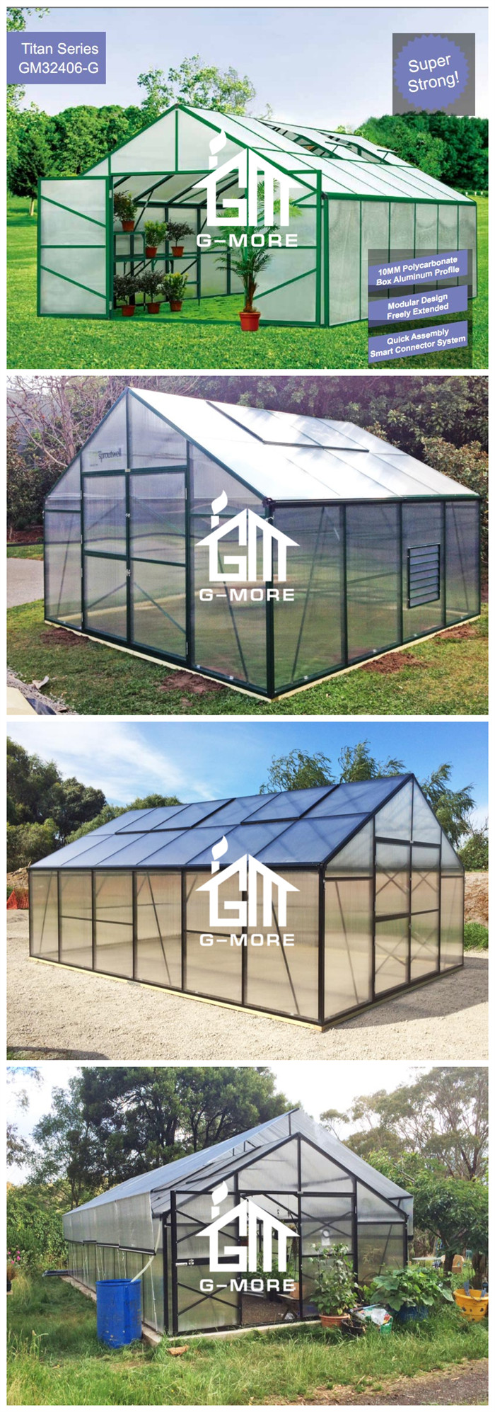 G-MORE Titan/Grange Series, 4M Width/8M Length, Premium Easy DIY Aluminium/10MM Polycarbonate Hobby Greenhouse(GM32408-B)