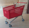 America style shopping trolley with red plastic baskets