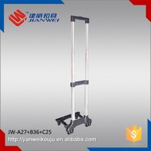 Aluminum material and handle type luggage telescopic plastic case trolley handle with wheel JW-A27+B36+C25