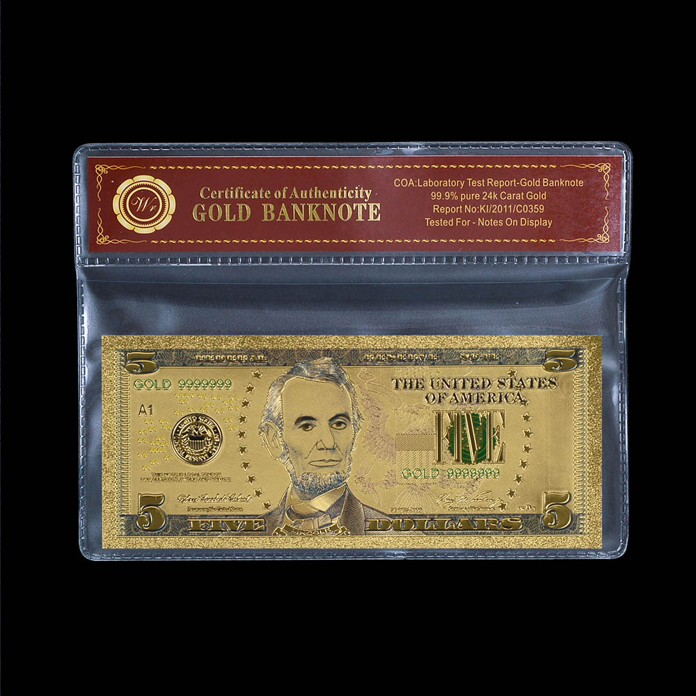 Best <strong>Design</strong> Colored 5 Dollar Replica Currency USD .999 Gold Foil Banknote Bill America Souvenir Gift For Wedding