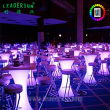 LEADERSUN Led bar furniture wholesale China rechargeable illuminated Outdoor party event wedding Led Square Table