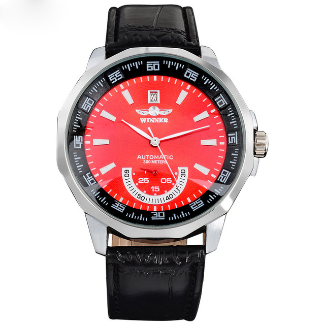 Hot Sale brand <strong>Men's</strong> <strong>men</strong> hot Mechanical skeleton automatic fashion dress watches auto date PU leather band red dial double hand