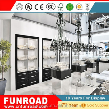 Factory boutique light glass jewelry display mall showcase with tempered glass and LED light