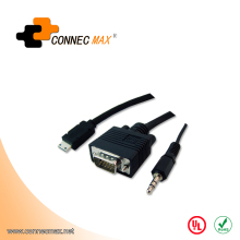 15 Pin SVGA super VGA Cable with audio Male To Male splitter cable For PC TV