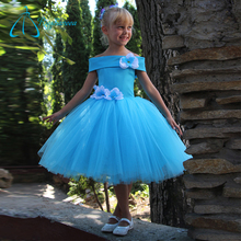 Tea-Length Tulle Satin Dress Flower Girl Dresses Royal Blue