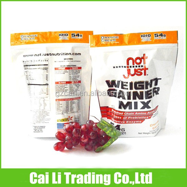 protein power packing stand-up custom printed food packaging bags