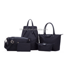 Manufacture china waterproof black nylon Women bag 5 sets Crossbody Bag For Ladies Handbag+Messenger Bag+Purse+Wallet