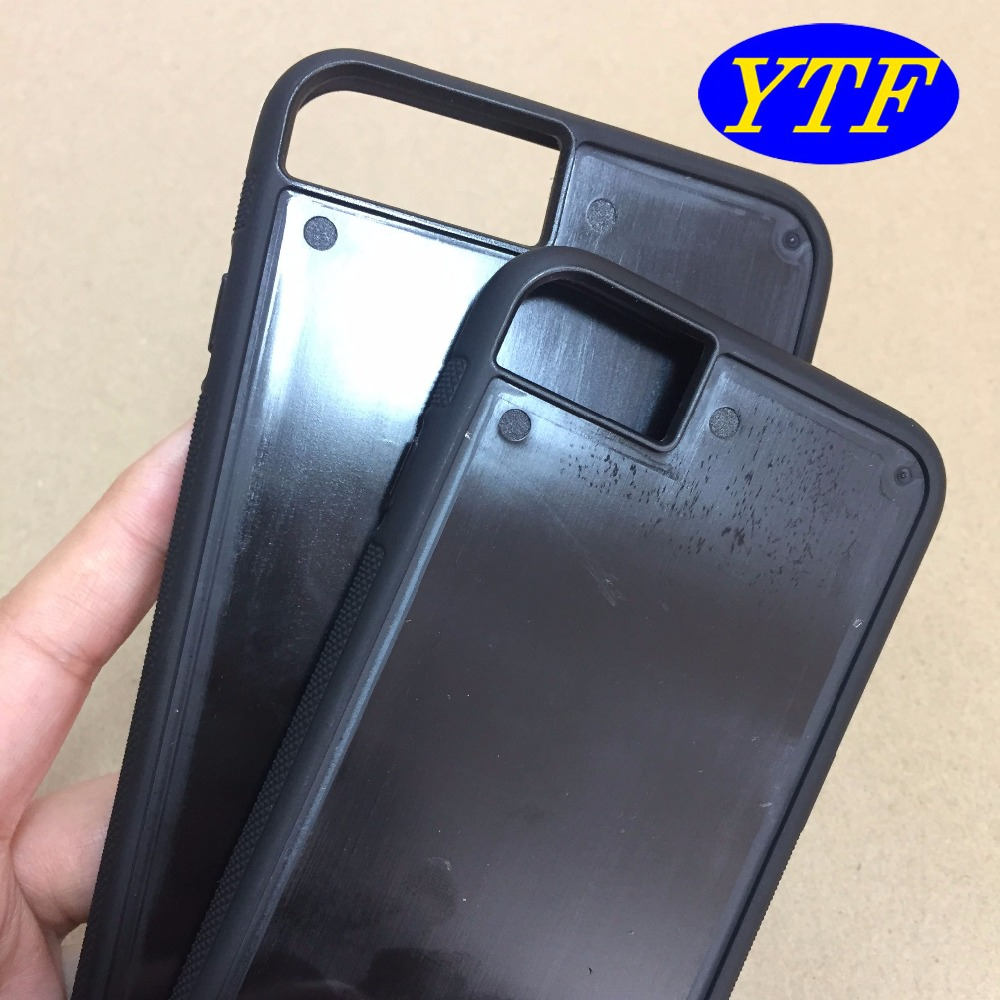 2 in 1 PC and TPU Blank Groove Paste carbon fiber phone case for iphone 6 & 7 4.7'
