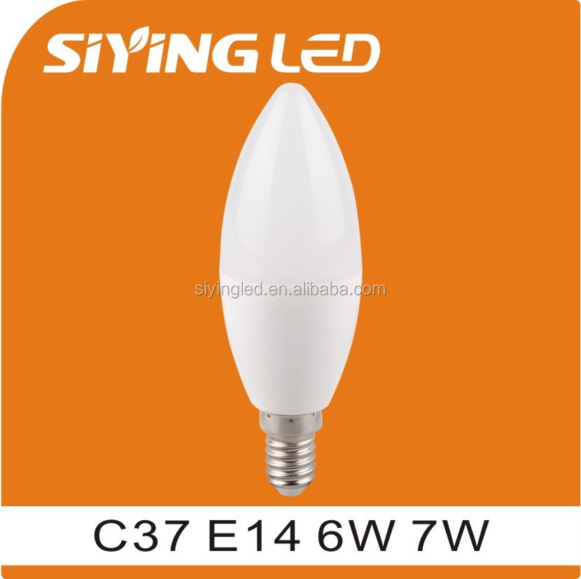 plastic led candle lamp, E14 6w candle light for indoor use