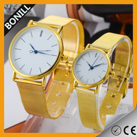 Fashion mesh steel watch for lovers custom logo pair watches men and women