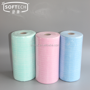 Perforated Viscose & Polyester Spunlace Nonwoven Fabrics Oil Absorbent Kitchen Cleaning Wipes Dish Cleaning Cloth Rolls
