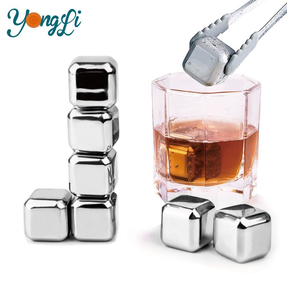 8 Stainless Steel Ice Chilling Cubes & Tongs