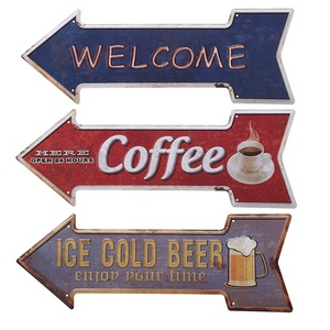 Ice Cold Beer Retro Arrow Metal Tin Signs embossed vintage metal plate Wall Decor for Bar Pub Home