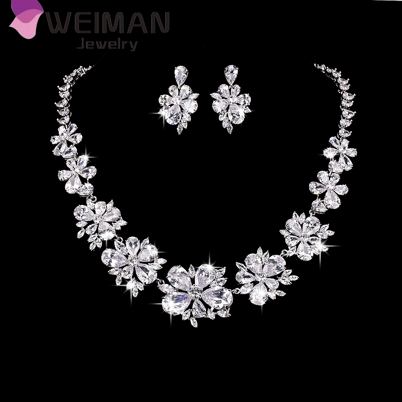 Platinum plated zircon diamond jewelry set necklace,fashion china wholesale bridal ladies jewelry set, AAA cubic zirconia women