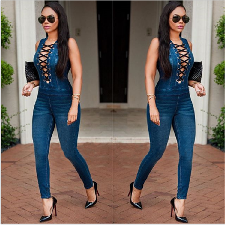 latest design cotton women sexy leisure denim pants one piece jumpsuit