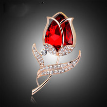 Free Shipping Luxury Red Flower Crystal Large Rhinestone Brooch For Women & Girls Christmas Gifts Jewelry