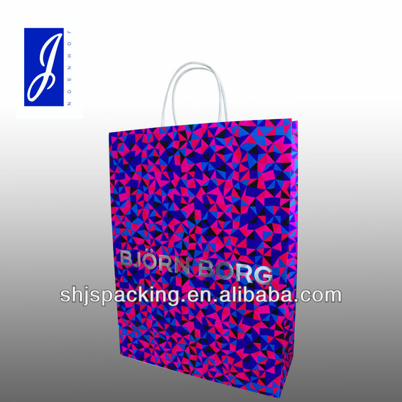 gift paper bag with silver hot stamping